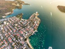 Aerial drone evening view of the Sydney suburb of Manly, a beach-side suburb of northern Sydney. Aerial drone evening view of the Sydney suburb of Manly, a stock photos