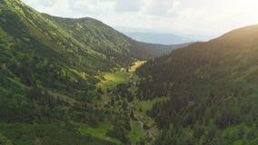 Aerial Drone Flight: beautiful mountain landscape stock video footage