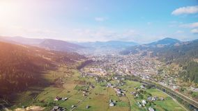 Aerial Drone Flight in Carpathian mountains stock video
