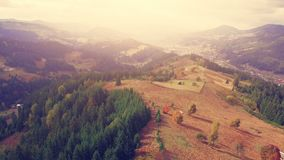 Aerial Drone Flight in Carpathian mountains stock footage