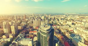 Aerial Drone Flight Footage: Picturesque view on Kiev cityscape stock footage