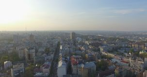 Aerial Drone Flight Footage: Picturesque View of Kiev cityscape stock video