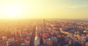 Aerial Drone Flight Footage: Picturesque View of Kiev cityscape stock footage
