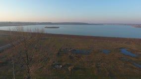 Aerial drone flight over a beautiful pond filled with vegetation. Aerial drone flight over a beautiful pond. Autumn season stock footage