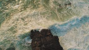 Aerial drone flight over pure wild Ocean water - very refreshing