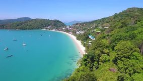 Aerial: Drone Flight to Ao Yon Beach at Cape Panwa. Phuket, Thailand. stock video footage