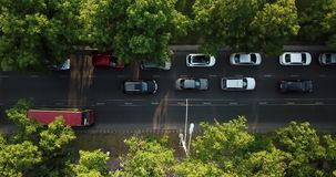 Aerial Drone Flight top down View of freeway busy city rush hour heavy traffic jam highway. Aerial view of the vehicular intersection,  traffic at peak hour stock video