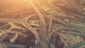Aerial Drone Flight View of freeway heavy traffic stock video