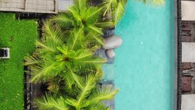 Aerial Drone Flight View of luxury infinity pool in tropic with palm trees. Luxurious villa, swimming pool. Travel