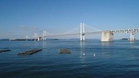 Aerial view, advance in of calm, blue sea, Seto-bridge stock video footage