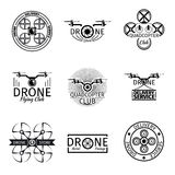 Aerial drone flying club labels, badges and logos Stock Images
