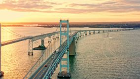 Aerial drone footage of Cheasapeake Bay Bridge