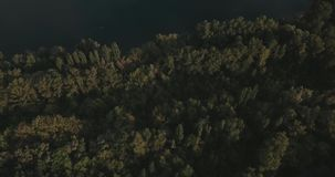 Aerial View. Flying over the beautiful lake. Sunny Day. Aerial camera shot. Aerial Drone footage, flying forward over a secluded lakes surrounded by dense forest stock video footage