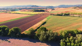 Aerial drone footage - flying over fields 2. Aerial shot in Tuscany, Italy stock video footage