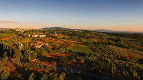 Aerial drone footage - flying over hills 2. Aerial shot in Tuscany, Italy stock video footage