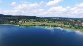 Aerial drone footage - flying over a lake in Germany stock footage