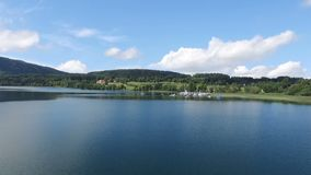 Aerial drone footage - flying over a lake in Germany stock video footage