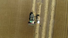 Aerial drone footage. Harvester spills grain into a truck. Top view stock footage
