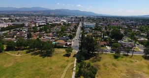 Aerial drone footage into a neighborhood 4k 24fps