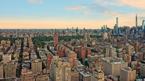 Aerial drone footage of New York midtown skyline