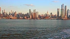 Aerial drone footage of New York skyline stock footage