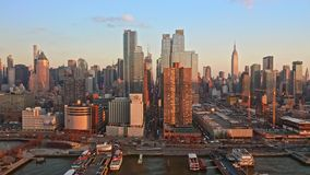 Aerial drone footage of New York skyline stock video footage