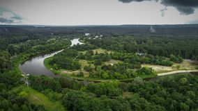 Aerial drone footage of river Neris stock images
