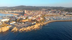 Aerial drone footage from small town Palamos of Spain, in Costa Brava stock video footage