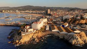 Aerial drone footage from small town Palamos from Spain, in Costa Brava stock video footage