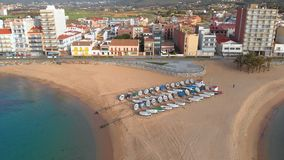 Aerial drone footage from small village Sant Antoni de Calonge from Spain, in Costa Brava stock footage