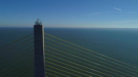 Aerial drone footage Sunshine Skyway Tampa Florida USA stock video