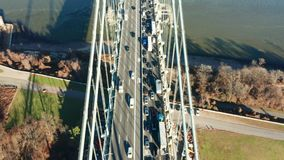 Aerial drone footage of Verrazzano Narrows Bridge stock video footage