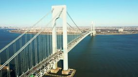 Aerial drone footage of Verrazzano Narrows Bridge stock footage