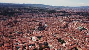 Aerial drone footage video - panoramic view of Florence stock video footage