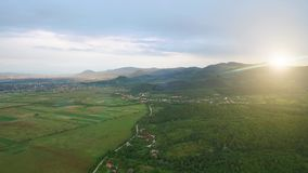 Aerial Drone Footage View. Sunset in the mountains. Scenic landscape of mountain ranges at sunset. Aerial Drone Footage View. Sunset in the mountains. Scenic stock video