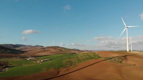 Wind farm in Malaga, Andalusia. Panoramic aerial view. Eolic Park stock video footage