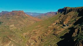 aerial drone image of beautiful stunning landscape view off the Degollada de La Yegua viewpoint with cliff rock peaks and valley stock photo