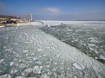 Frozen Black Sea in Odessa Ukraine. Aerial drone image of the Black Sea frozen at 12 Station Beach in Odessa Ukraine Stock Photo