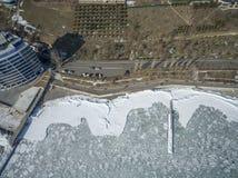 Frozen Black Sea in Odessa Ukraine. Aerial drone image of the Black Sea frozen at 12 Station Beach in Odessa Ukraine Stock Images