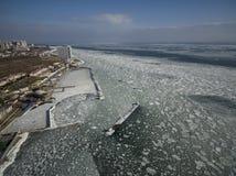 Frozen Black Sea in Odessa Ukraine. Aerial drone image of the Black Sea frozen at 12 Station Beach in Odessa Ukraine Stock Photography