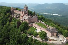 Chateau de Haut-Koenigsbourg, France. Aerial drone image of Chateau de Haut-Koenigsbourg in Alsace, France Royalty Free Stock Images