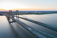 Aerial drone image of the Delaware Memorial Bridge. Aerial drone image Delaware Memorial Bridge Royalty Free Stock Photography