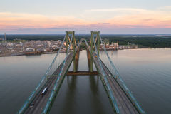 Aerial drone image of the Delaware Memorial Bridge. Aerial drone shot of the Delaware Memorial Bridge Stock Photo