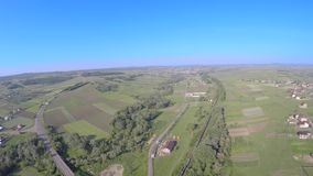 Aerial drone image of farmland landscape