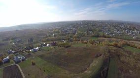 Aerial drone image of farmland landscape.  stock footage
