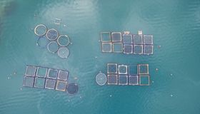 Aerial drone image of fish farming in Greece. 