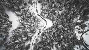 Aerial drone image of landscape covered in snow Stock Photo