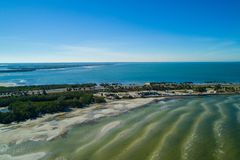 Manataa County rest area Sunshine Skyway causeway. Aerial drone image of the Manatee County rest area Florida Tampa Bay royalty free stock image