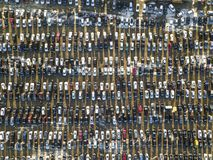 Aerial drone image of many cars parked on parking lot, top view.  royalty free stock image