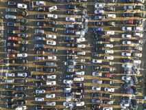 Aerial drone image of many cars parked on parking lot, top view.  royalty free stock photography
